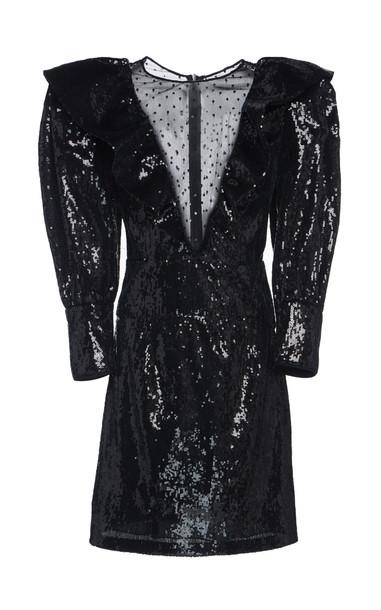 Dundas Sequined Tulle Mini Dress in black