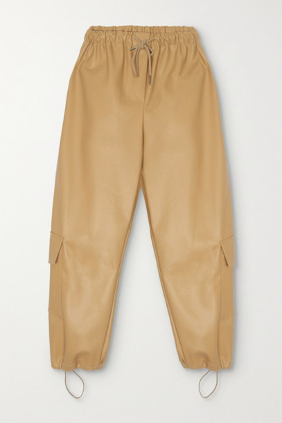 Frankie Shop - Yoyo Faux Leather Tapered Pants - Tan