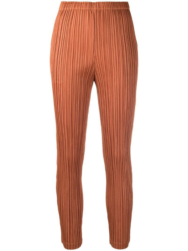 Pleats Please Issey Miyake mid-rise textured tapered trousers in brown