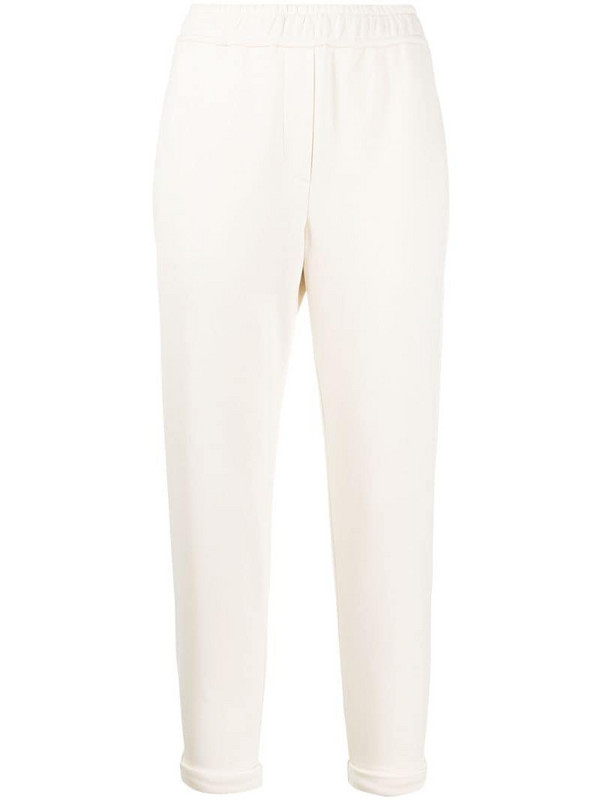Brunello Cucinelli tapered track pants in white