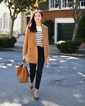 pants,black pants,wool,straight pants,high waisted pants,pumps,brown bag,beige coat,striped sweater,white sweater