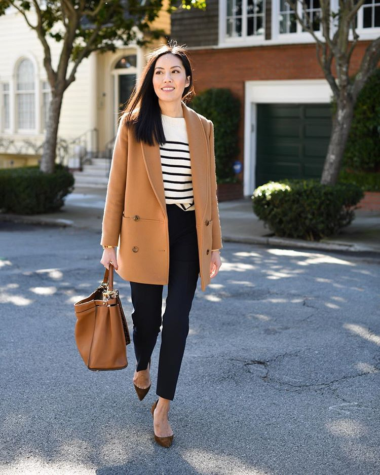 pants black pants wool straight pants high waisted pants pumps brown bag beige coat striped sweater white sweater