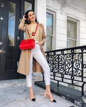 coat,trench coat,long coat,pumps,white jeans,high waisted jeans,skinny jeans,crossbody bag,top
