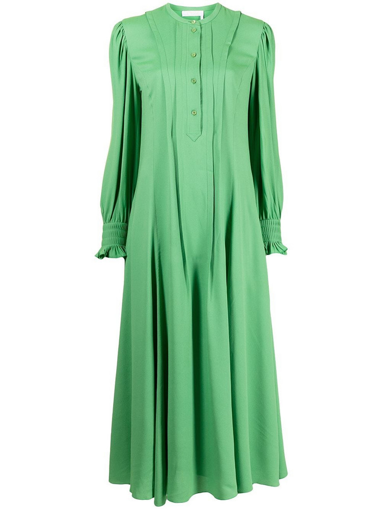 Chloé Chloé long-sleeve pleat-detail dress - Green