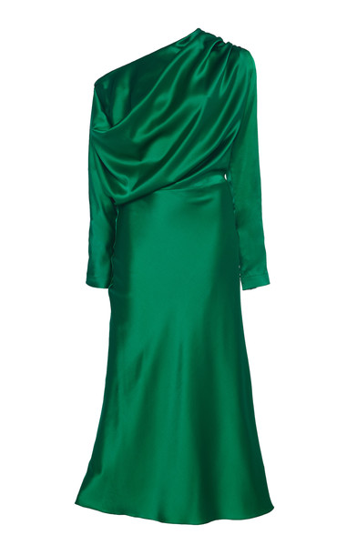 MATÉRIEL Silk Draped Dress Size: S in green