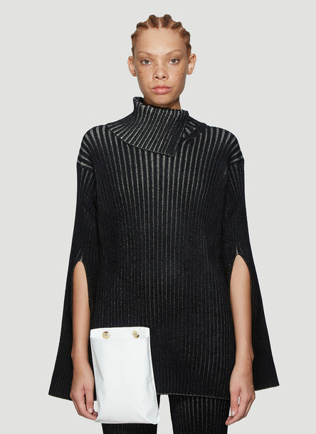 2 MONCLER 1952 Ribbed Asymmetric Knit Sweater in Black size S