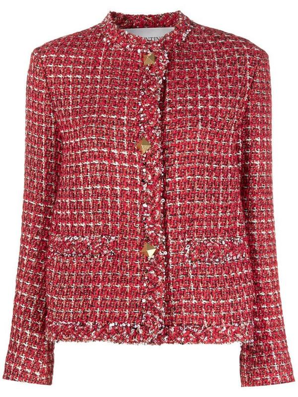 Valentino sequin-detail tweed jacket in red