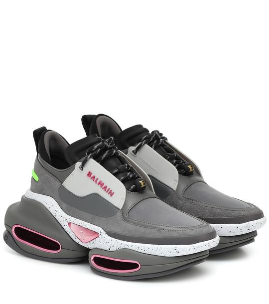 Balmain BBold leather sneakers in grey