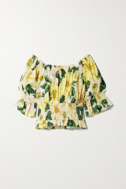 Dolce & Gabbana - Off-the-shoulder Ruffled Floral-print Cotton-poplin Blouse - Yellow