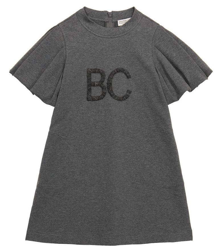 Brunello Cucinelli Kids Logo stretch-cotton dress in grey