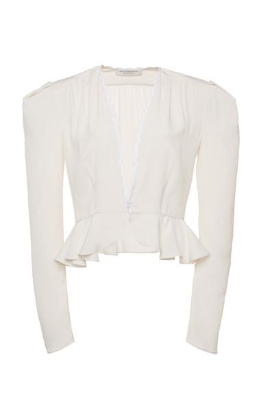 Philosophy di Lorenzo Serafini Crepe De Chine Peplum Blouse Size: 38 in white