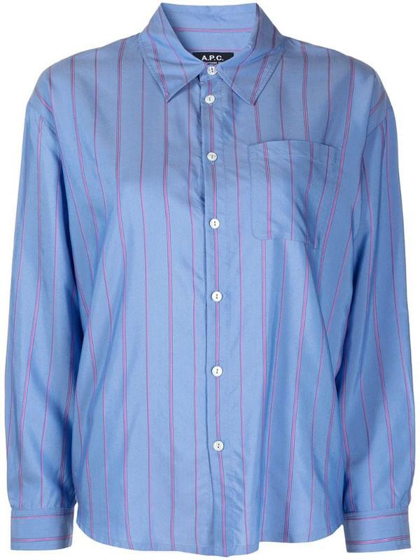 A.P.C. stripe button-down shirt in blue