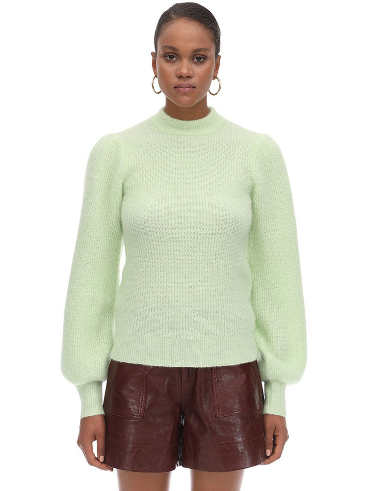 GANNI Soft Knitted Round Neck Sweater in mint