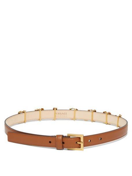 Versace - Baroque Logo Slim Leather Belt - Womens - Tan