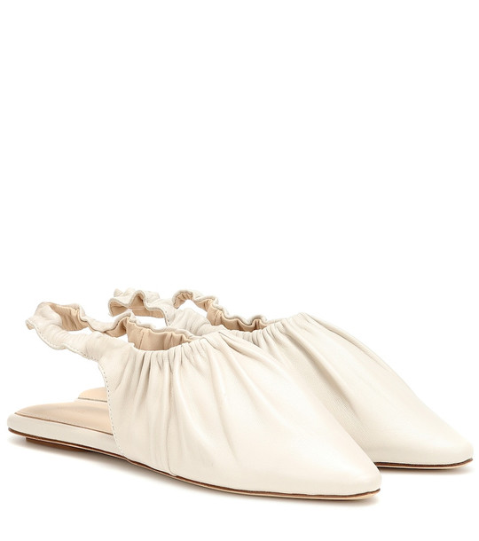 Nanushka Zuo slingback leather ballet flats in white