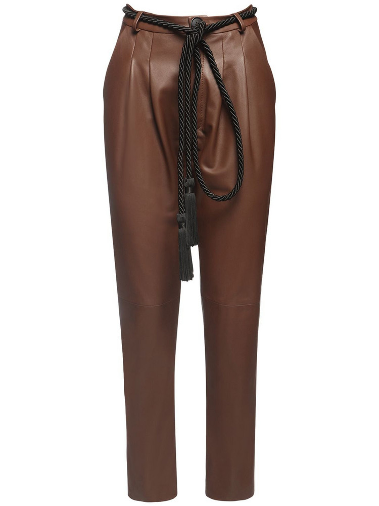 BLANCHA High Waist Leather Pants in brown