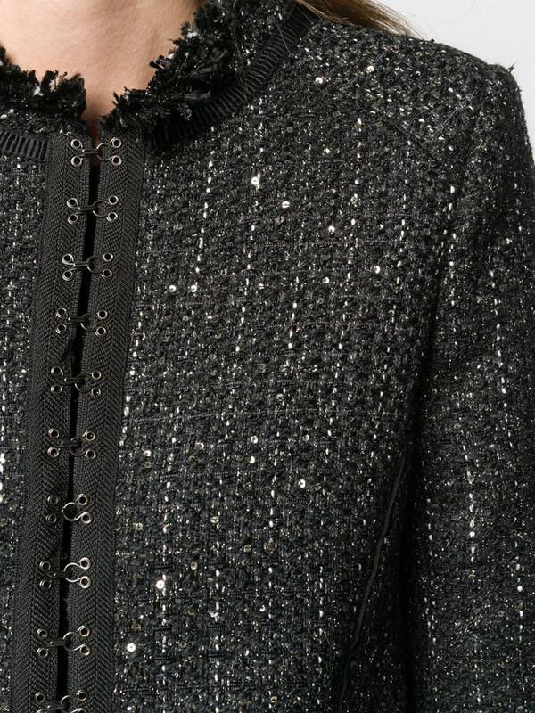 Karl Lagerfeld hook & eye tweed jacket in black