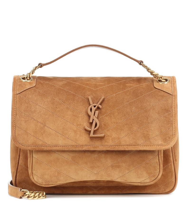 Saint Laurent Niki Medium suede shoulder bag in brown