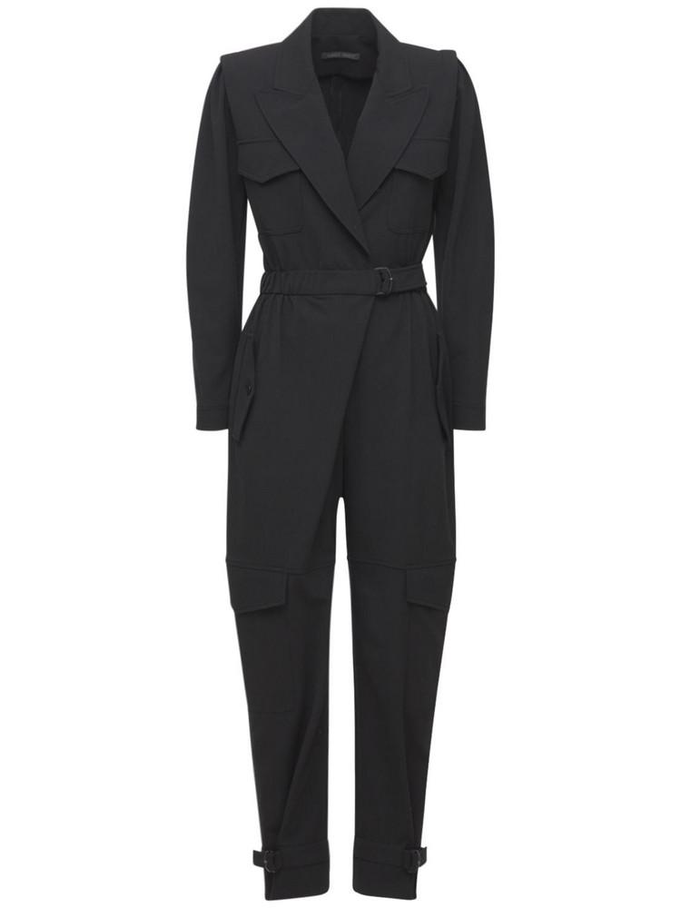 ALBERTA FERRETTI Stretch Wool Gabardine Jumpsuit W/belt in black