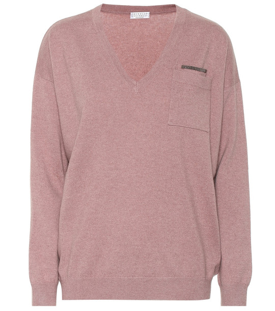 Brunello Cucinelli Embellished cashmere sweater in pink