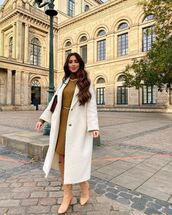 dress,turtleneck dress,white coat,oversized coat,knee high boots,bag