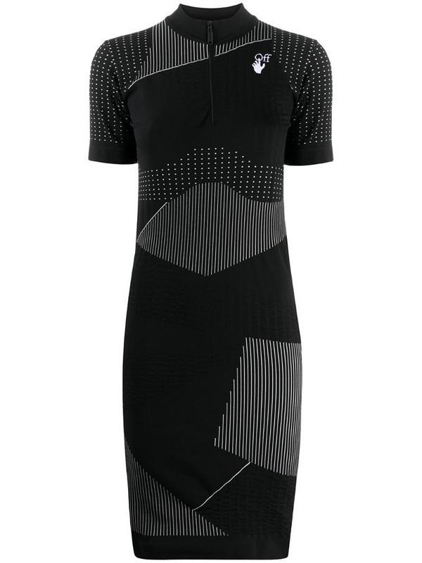 Off-White stripe-detail short-sleeve dress in black