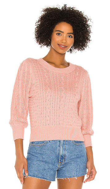 Free People Villa Cable Pullover in Pink