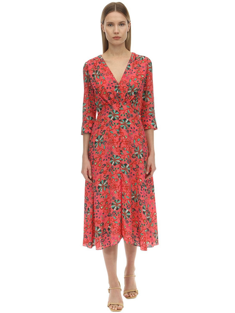 SALONI Eve Printed Silk Crepe De Chine Dress in green / pink