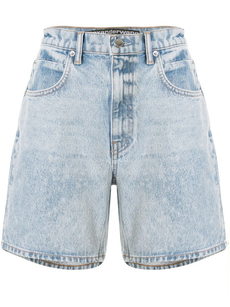 T By Alexander Wang logo patch denim shorts in blue