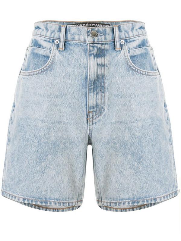 T By Alexander Wang logo patch denim shorts in blue