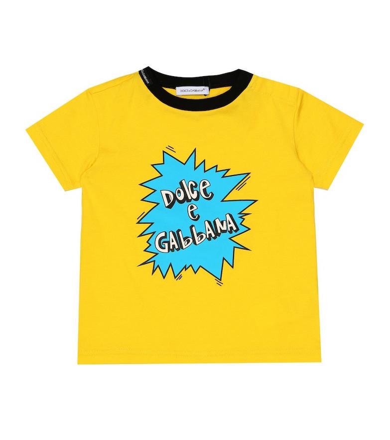 Dolce & Gabbana Kids Baby printed cotton T-shirt in yellow