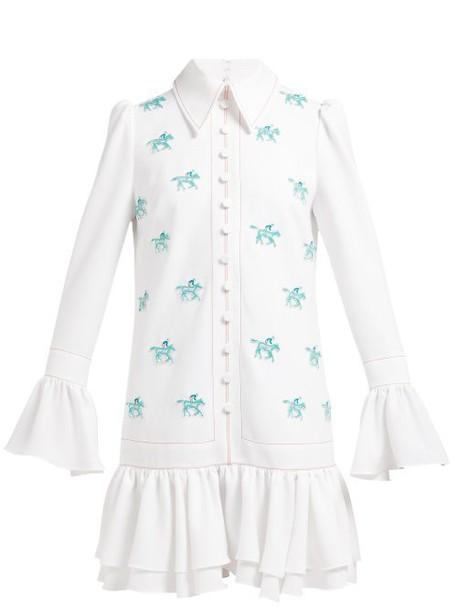 Carolina Herrera - Horse Appliqué Crepe Mini Dress - Womens - White Multi