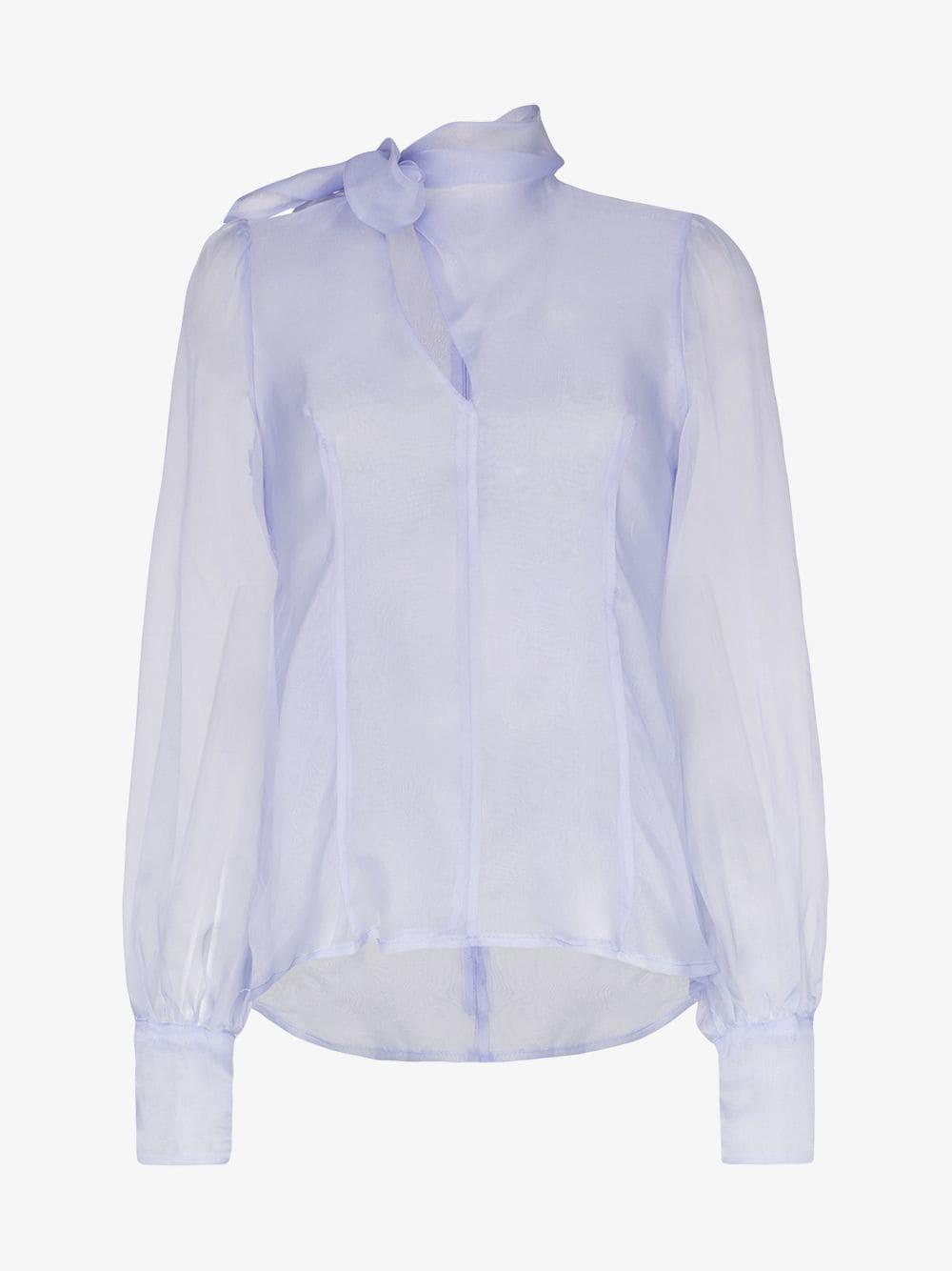 Beaufille Rosseau Sheer Tie Neck Silk Blouse in blue