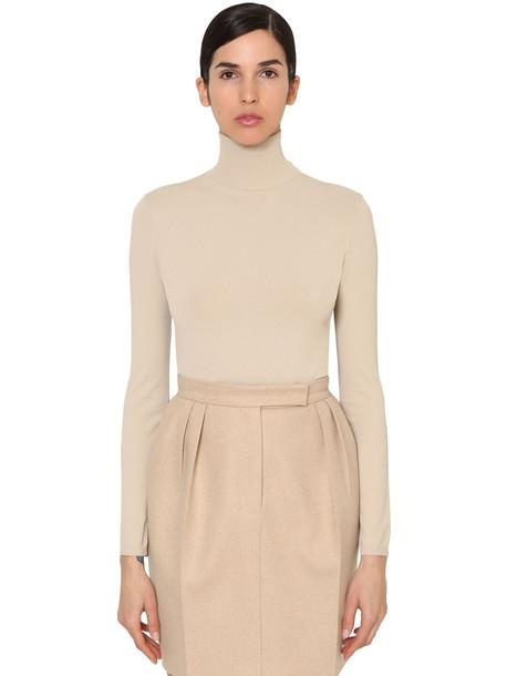 MAX MARA Virgin Wool Knit Turtleneck Sweater in beige