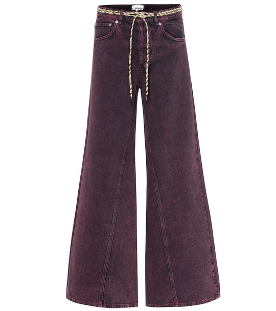 Ganni High-rise wide-leg jeans in purple