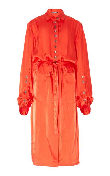 Ann Demeulemeester Oversized Satin Duster Dress in red