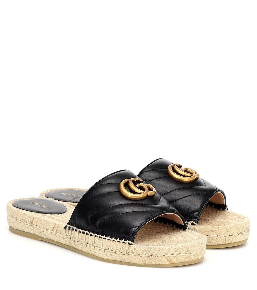 Gucci Leather espadrille slides in black