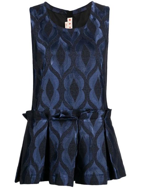 Marni sleeveless peplum blouse in blue
