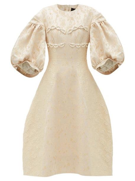 Simone Rocha - Puff-sleeve Floral-brocade Dress - Womens - Nude