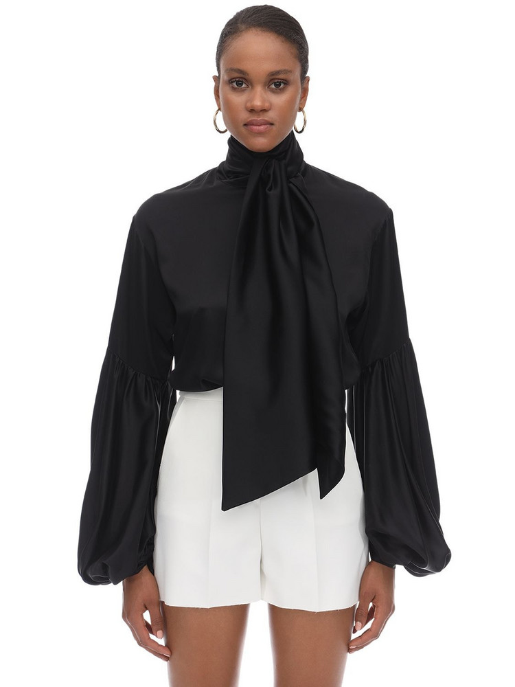 L'AUTRE CHOSE Oversize Silk Satin Shirt W/ Bow in black
