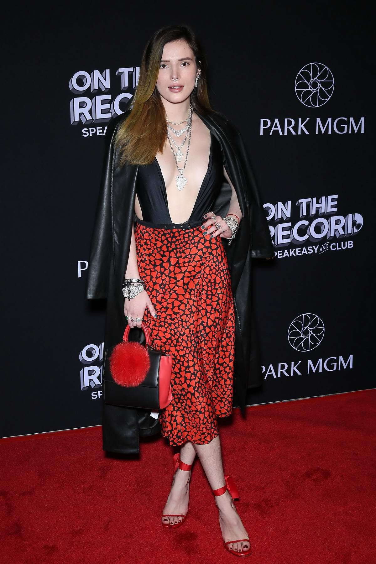 skirt red red skirt midi skirt bella thorne celebrity plunge v neck deep plunge neckline black sandals