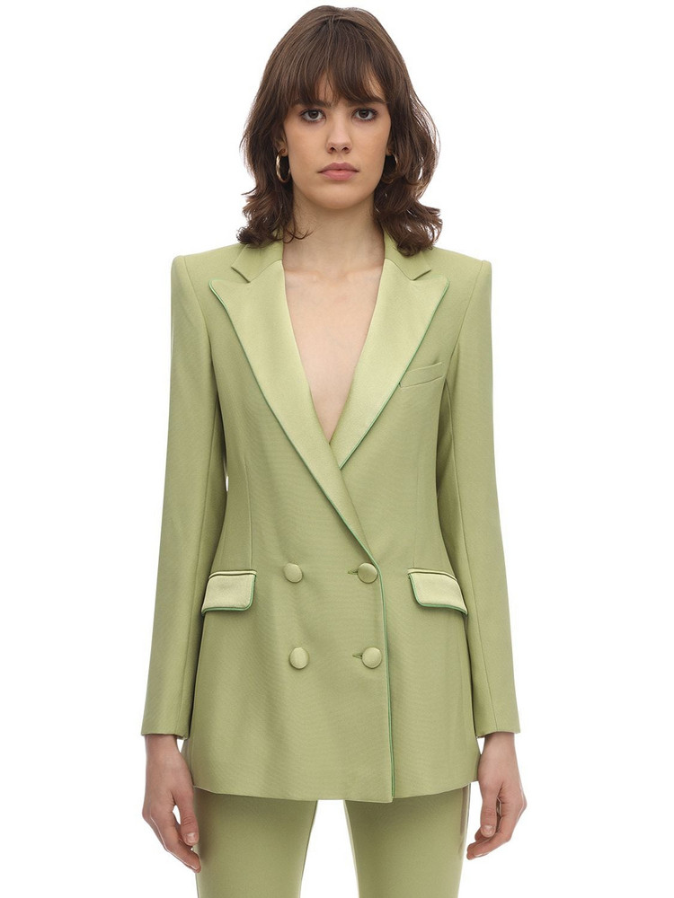 HEBE STUDIO Bianca Viscose Blend Cady & Satin Blazer in mint