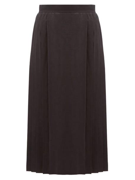 Fendi - Leaf-jacquard Pleated Silk Skirt - Womens - Black
