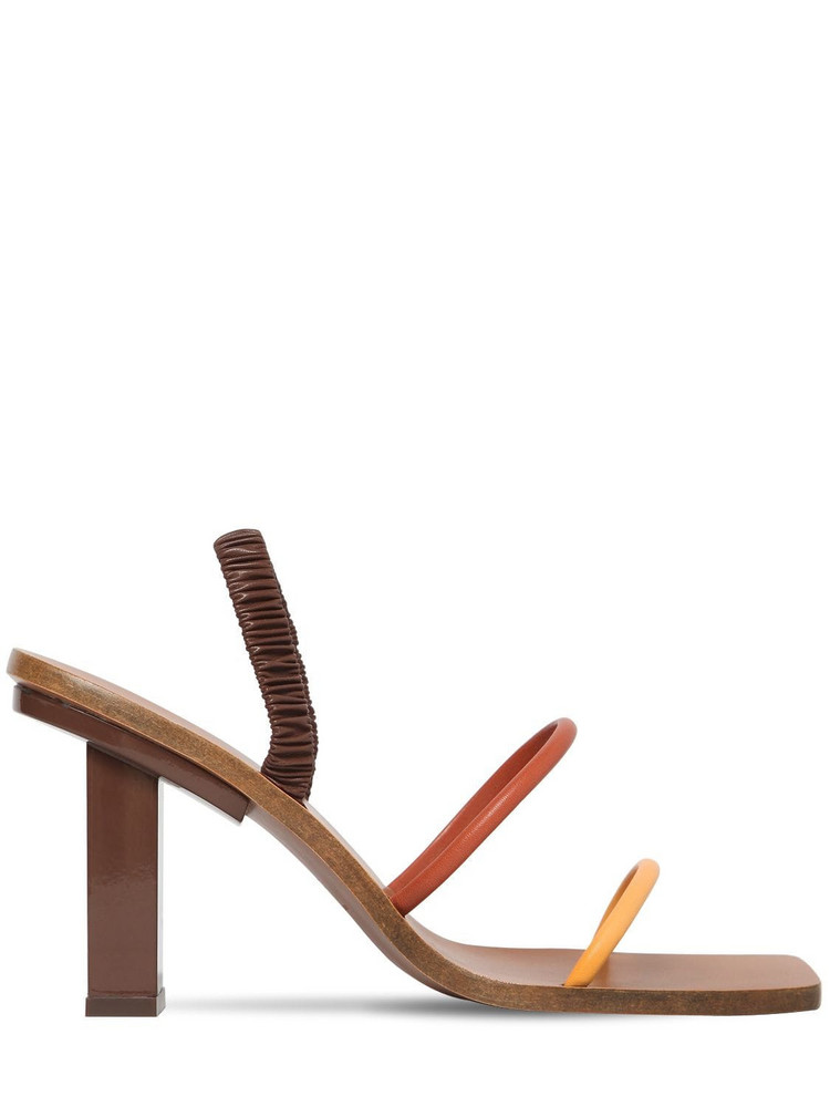 CULT GAIA 70mm Kaia Leather Sandals in brown / beige