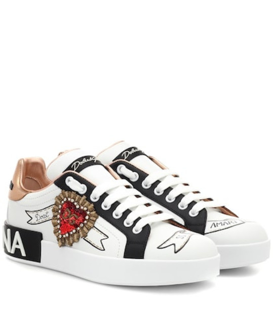 Dolce & Gabbana Portofino leather sneakers in white