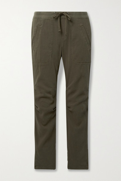 James Perse - Cotton-blend Twill Track Pants - Army green