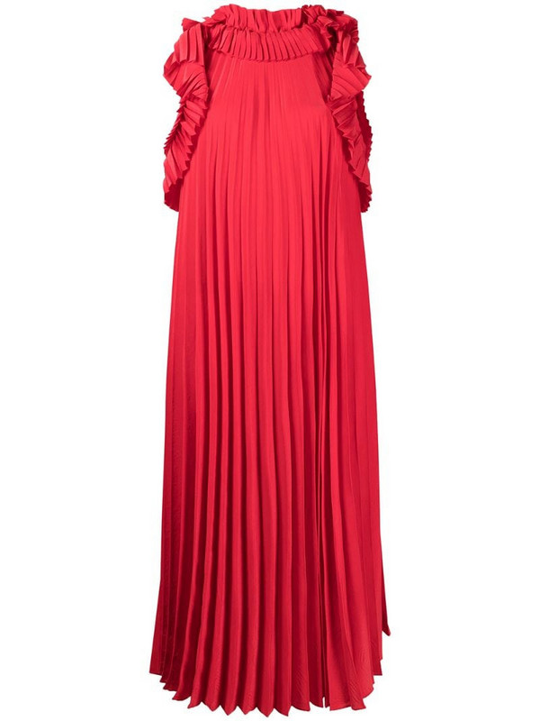 P.A.R.O.S.H. ruffled pleated midi dress in red