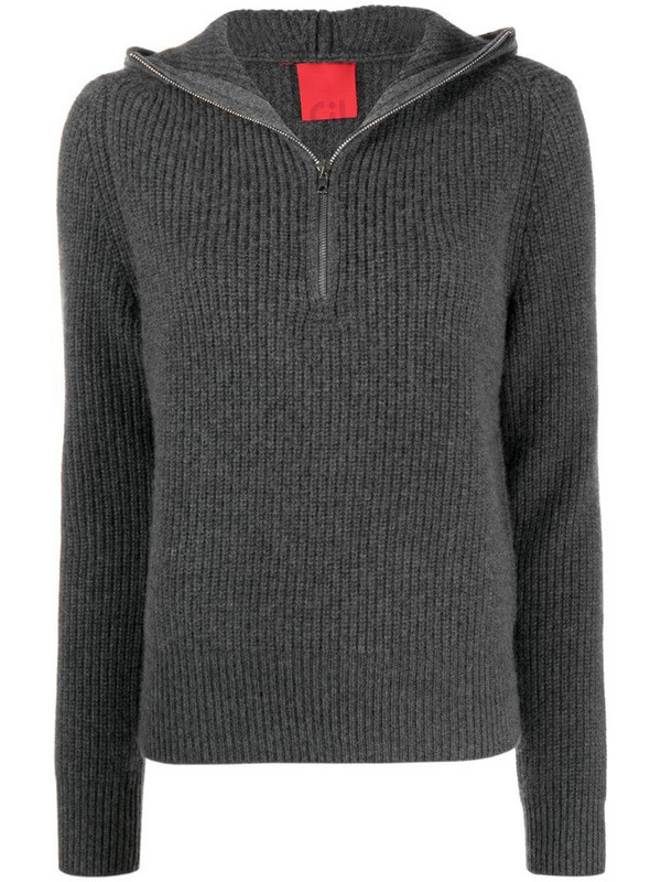 Cashmere In Love ribbed-knit hoodie in grey