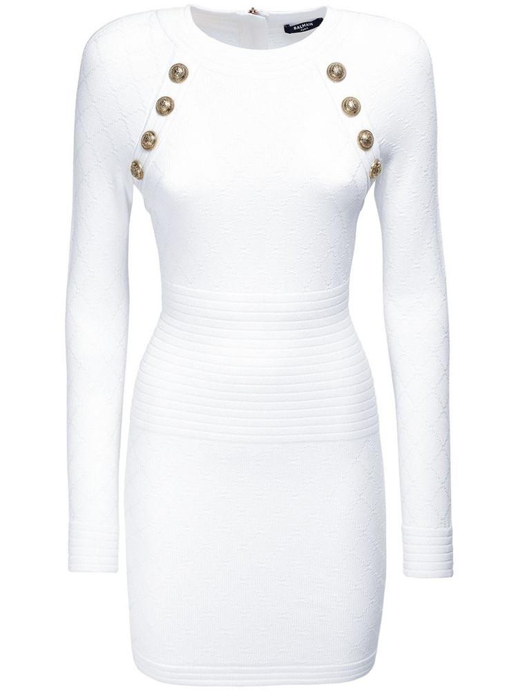 BALMAIN Fitted Knit Viscose Blend Mini Dress in white