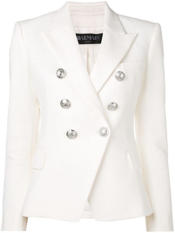 Balmain button embellished blazer in white